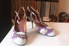 Dries Van Noten Floral Fabric Leather T Strap Pump Heels Size 40 Made in Italy