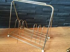 Vintage Retro 1960s Gold Metallic Record Holder or Rack for LPs/Singles Nice Con