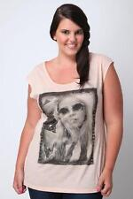 LADIES SCOOP NECK PEACH PHOTO PRINT T-SHIRT FROM YOURS  IN SIZES 16 TO 20  BNWT