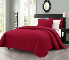 NEW Queen King Size Bed Coverlet Quilt Bedspread 3 pc Set Blanket Burgundy Red