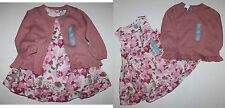 baby Gap NWT Girl 3 6 12 18 24 Mo. Outfit Set Blush Pink Floral Dress & Sweater