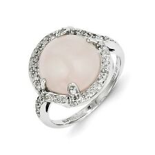 Sterling Silver Rose Quartz & 0.15 CT Diamond Cabochon Ring 3.56 gr Size 6 to 9