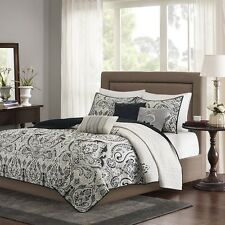 6 Piece Quilted Coverlet Set Black and Taupe with  Decorative Pillows & Shams
