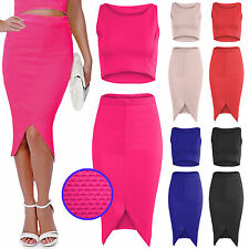 NEW LADIES CROP VEST TOP MIDI SKIRT SUIT WOMENS CURVED HEM PENCIL BODYCON SKIRTS