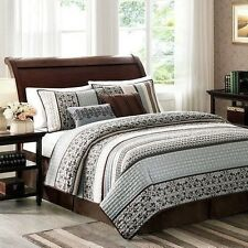 NEW Queen King Bed Blue Brown Stripe Geometric 5 pc Quilt Coverlet Bedding Set