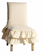 Classic Cotton Tiered Ruffled Clasual Dining / Kitchen Chair Cover Slipcover