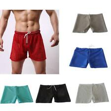 Drawstring Hollow Out See-Through Mesh Boxer Shorts Underwear Briefs for Men