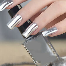 2Pcs 6ML/12ML Silver Nail Polish Metallic Mirror Effect & 6ML/12ML Top Coat