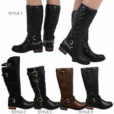 Womens Low Heels Mid Calf Biker Style Ladies Quilted Riding Boots Shoes Size New