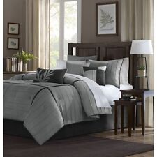 7pc Grey & Black Micro-Suede Comforter Bedding Set w/Bed Skirt Shams AND Pillows