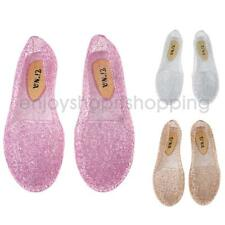 Women Hollow Out Jelly Shoes Breathable Glitter Ballet Flats Peep Toe Sandals