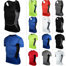 Men's Compression Base Layer Body Armour Top Tight Vest Thermal Skins T-Shirts