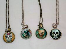 New Skull Cabochon Glass Pendant Bronze or Silver Necklaces 4 Designs To From