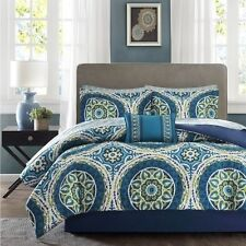 NEW Twin Full Queen Cal King Bed 9 pc Blue Green Medallion Comforter Sheets Set