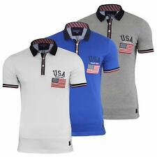 Brave Soul Mens Carlos Short Sleeve American Flag Polo Shirt/Top All Sizes S-XL