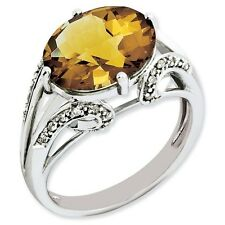 Sterling Silver Oval Whiskey Quartz & .10 CT Diamond Ring 3.38 gr Size 5 to 10