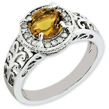 Sterling Silver Round Whiskey Quartz & .12 CT Diamond Ring 2.93 gr Size 5 to 10