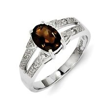 Sterling Silver Oval Smoky Quartz & .03 CT Diamond Ring 2.86 gr Size 6 to 8