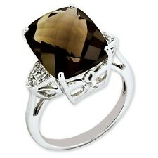 Sterling Silver Square Smoky Quartz & .03 CT Diamond Ring 2.88 gr Size 5 to 10