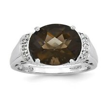 Sterling Silver Oval Smoky Quartz & .03 CT Diamond Ring 3.68 gr Size 5 to 10