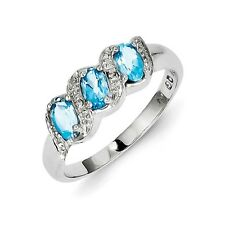 Sterling Silver Three Stone Blue Topaz & .01 CT Diamond Ring 2.04 gr Size 6 to 8