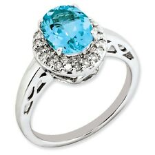 Sterling Silver Round Blue Topaz & .20 CT Diamond Ring 3.15 gr Size 5 to 10