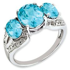 Sterling Silver 3 Stone Light Blue Topaz & .05 CT Diamond Ring Size 5 to 10
