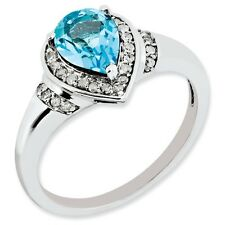Sterling Silver Pear Cut Light Blue Topaz & .12 CT Diamond Ring Size 5 to 10
