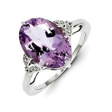 Sterling Silver Oval Amethyst & White Topaz Ring 1.75 gr Size 6 to 9