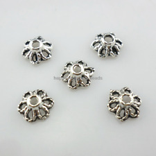 200/1600pcs Tibetan Silver Hollow flower Spacer Bead Caps 3x6mm   (Lead-free)