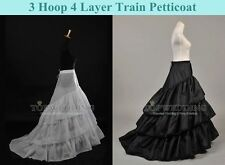 3 Hoop Full Train Petticoat Bridal Crinoline Underskirt Half Slip White/Black