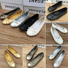 Womens Bowknot Flat Dolly Slip On Ballet Ballerina Casual Pumps Flats Boat Shoes