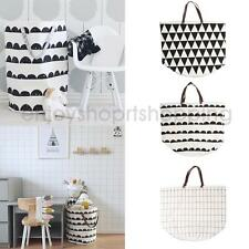 Geometric Canvas Toy Storage Bag Bucket Laundry Cloth Bag Baskets Home Organizer