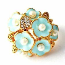 womens vintage ring size 7 8 9 blue Enamel pearl flower crystal cocktail ring