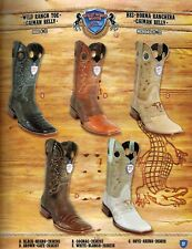 Wild West Men's Ranch Toe Caiman Belly 1/2 Vamp Cowboy Western Boots Diff.Colors