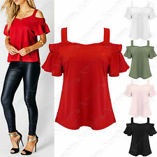 NEW LADIES STRAP BARDOT SWING TOPS SHORT SLEEVE FRILL WOMENS OFF SHOULDER LOOK
