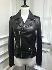Leather Jacket Coat Women Moto Style New Womens Biker Black Jacket Style W- 41