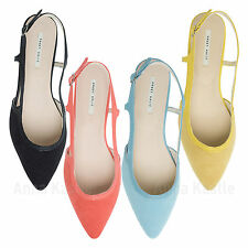 AnnaKastle New Womens Faux Suede Slingback Flat Shoes US 5 6 7 8