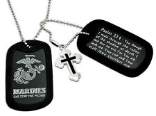 U.S. Marines Logo and Psalm 23:4 Inscription Military Dog Tag Necklace