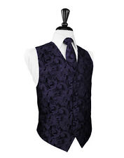 New Mens Size Amethyst Purple Tapestry Tuxedo Vest Tie Set Formal Wedding Prom