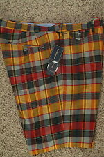 Polo Ralph Lauren Mens Plaid Check Shorts Saffron New NWT