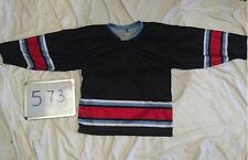BLANK BLACK Red Lt Blue Classic Trim Mens League Cross Pond Hockey Jersey 573