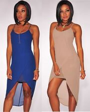 Women's Taupe and Blue Tulip Cut High Low Mini Maxi Dress Thin Straps SZ 8-12