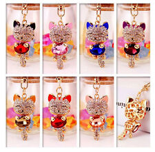 Lucky Cat Keychain Crystal Rhinestone Handbag Charm Metal Key Chains Key Rings