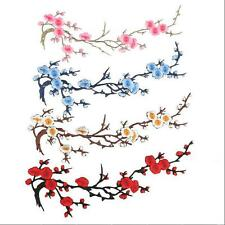 Beautiful Embroidered Iron on Flower Patch Plum Blossom Craft Applique Motif