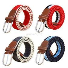 Adjustable Pin Buckle Men Elastic Braided Leather Webbing Canvas Waistband Belts