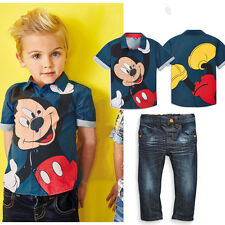 Hot Sell 2PCS Kids Baby Boys Mickey Mouse Shirt Tops + Jeans Set Clothes Outfits