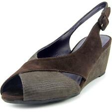 Vaneli Wilda Women  Peep-Toe Suede Brown Slingback Heel