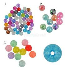 50 or 10pcs Mixed Colours Crackle Acrylic Beads Round Mixed 12 18 22mm Dia