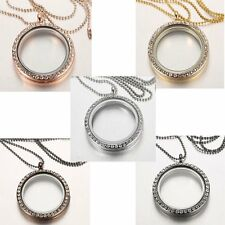 25MM Crystal Glass Locket Pendant Necklace Chain Floating Charms Living Memory